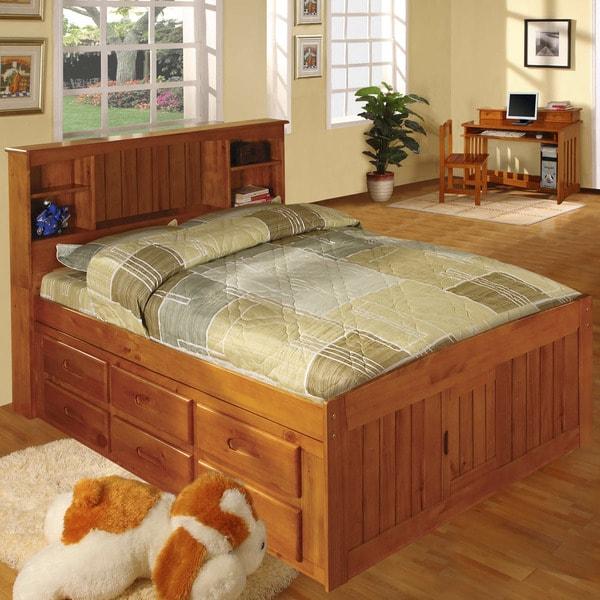 Honey-finished Pine Wood Full-size 12-drawer Captains Bed