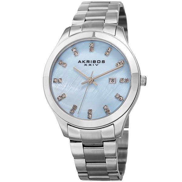 Akribos XXIV Women's Quartz Swarovski Crystal Silver-Tone Stainless Steel Bracelet Watch with FREE GIFT 19407986