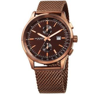 Akribos XXIV Men's Swiss Quartz Multifunction Tachymeter Brown Stainless Steel Bracelet Watch