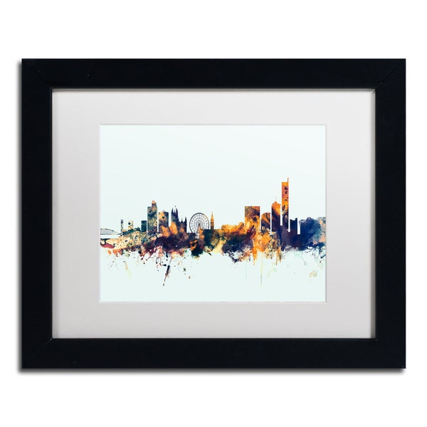 Michael Tompsett 'Manchester Skyline Blue' Matted Framed Art