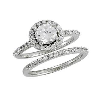 14k White Gold 1 1/5ct TDW Diamond Round Halo Style Wedding Set
