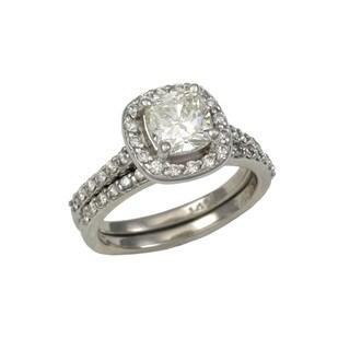 14K White Gold Halo 0.6 TDW Cushion Diamond Wedding Set (No Center Stone)