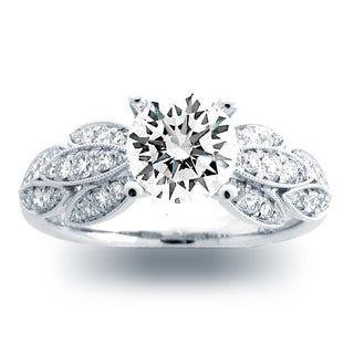 Azaro 14K White Gold 2/5ct TDW Diamond Floral Engagement Ring (H, SI1-SI2)