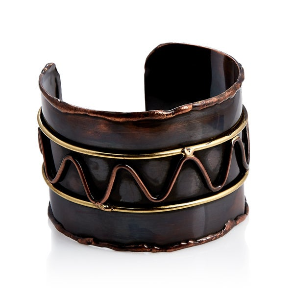Handcrafted Artisan Mixed Metal Copper Wavy Line Cuff Bracelet (India)