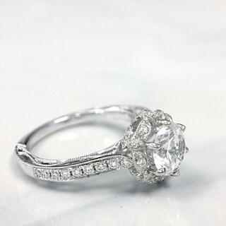 Lihara and Co. 18K White Gold 0.31ct TDW Semi-Mount Diamond Engagement Ring (G-H, VS1-VS2)