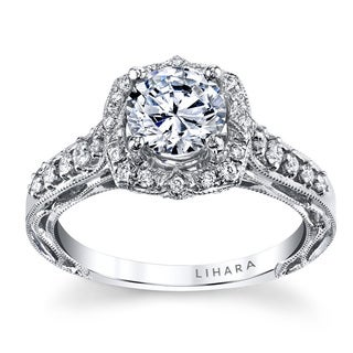 Lihara and Co. 18K White Gold 0.30ct TDW Semi-Mount Halo Diamond Engagement Ring (G-H, VS1-VS2)