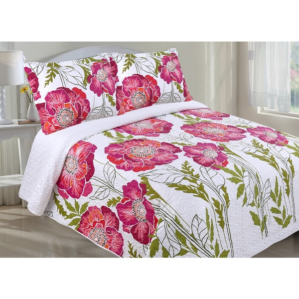 Oversized Pink Floral Quilt Set