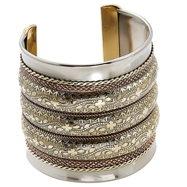 Handmade Artisan Stainless Steel Wide Triple Embossed Brass Bands Cuff Bracelet (India)