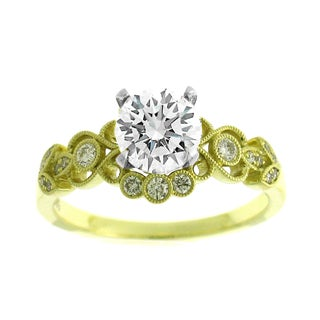 Azaro 14K Two-Tone Gold 1/4ct TDW Diamond Floral Engagement Ring (H, SI1-SI2)