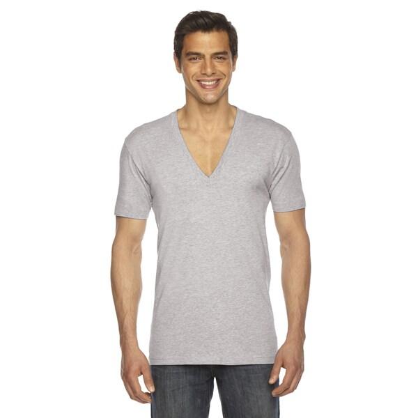 American Apperel Unisex Sheer Jersey Heather Grey Cotton Short-sleeve Deep V-neck T-shirt