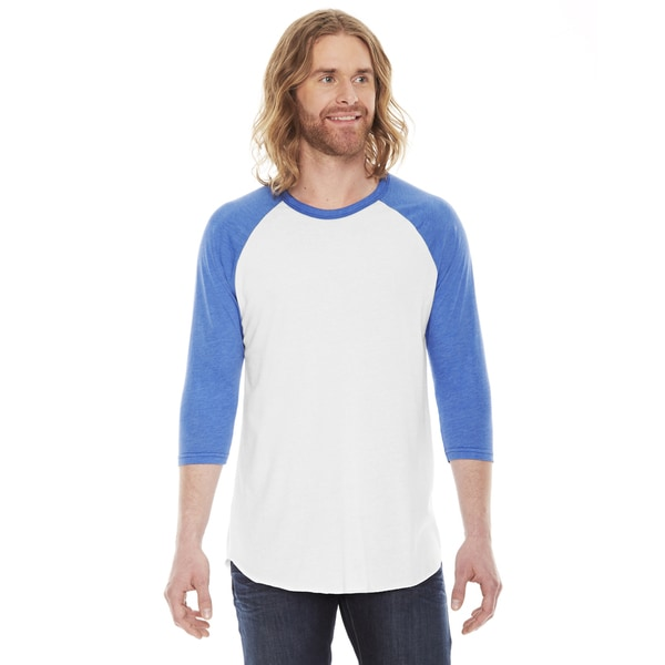 American Apparel Unisex White and Blue Poly-cotton Baseball Raglan T-shirt
