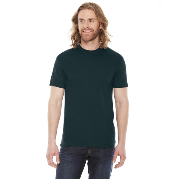 American Apparel Unisex 50/50 Black/Aqua Short Sleeve T-shirt