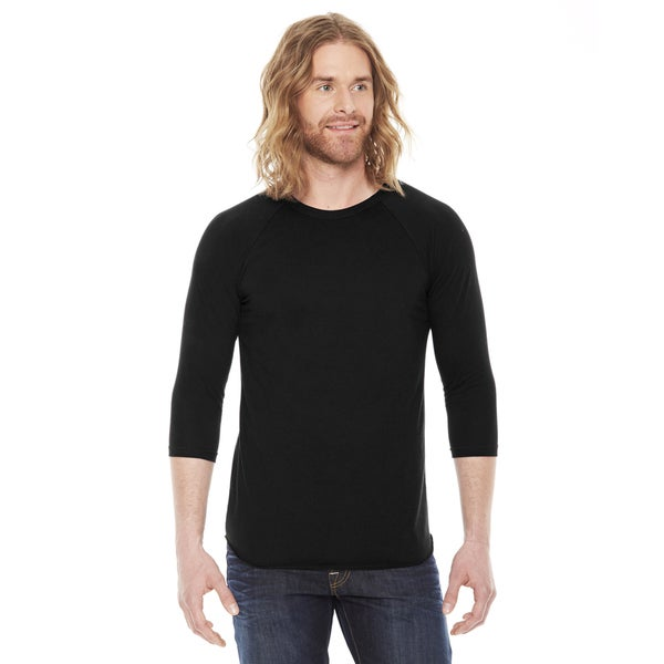 American Apparel Unisex Baseball Black Poly/ Cotton Raglan T-shirt