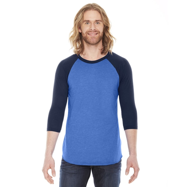 American Apparel Unisex Heather Light Blue/Navy Polyester/Cotton Baseball Raglan T-shirt