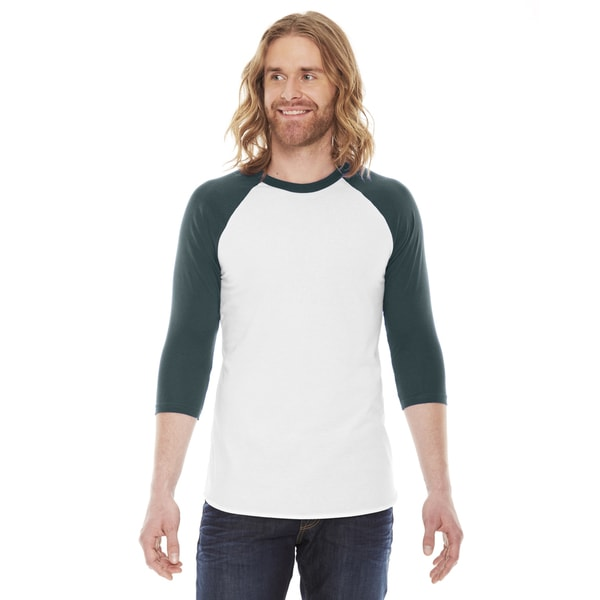 American Apparel Unisex Baseball White/Forest Poly/Cotton Raglan T-Shirt