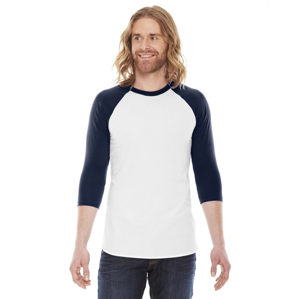 American Apparel Unisex Baseball White/Navy Poly/Cotton Raglan T-shirt
