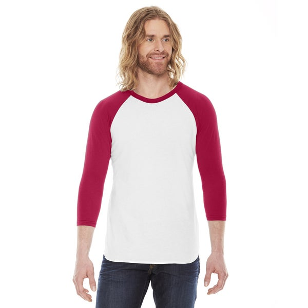 American Apparel Unisex Baseball White/Red Poly/Cotton Raglan T-Shirt