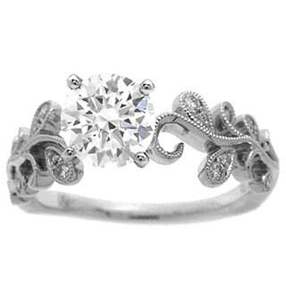 Azaro 14K White Gold 1/10ct TDW Diamond Floral Engagement Ring (H, SI1-SI2)