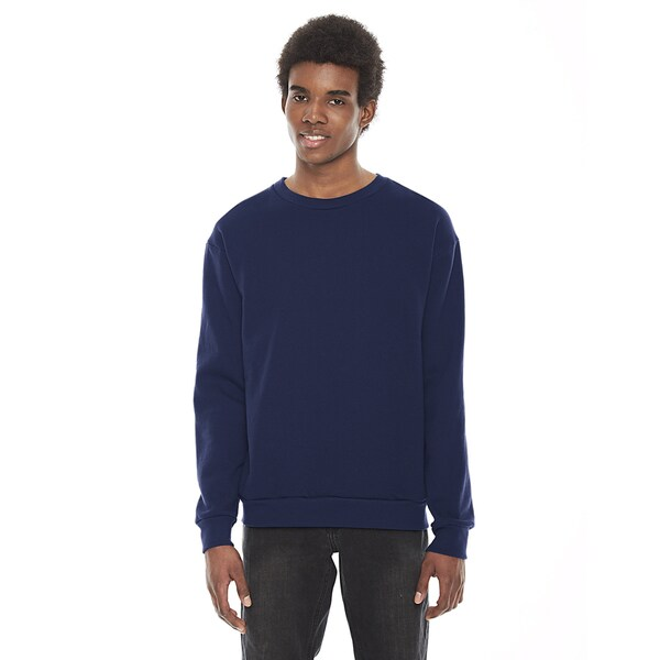 American Apparel Unisex Navy Cotton/Polyester Flex Fleece Drop Shoulder Crewneck Pullover