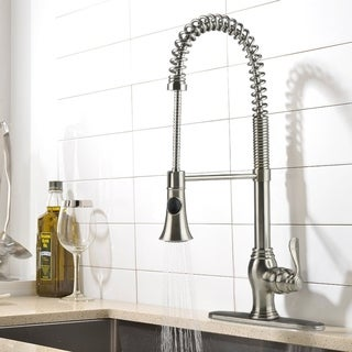 iSpring Brushed Nickel-finished Brass Lead-free Single-handle Commercial-style Pull-down Kitchen Faucet