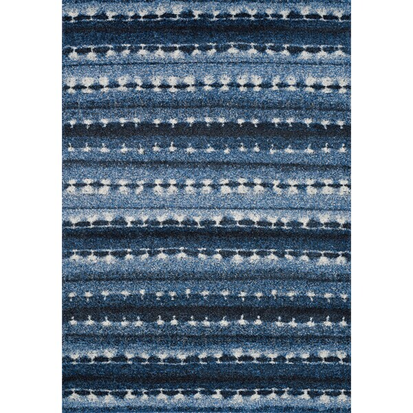 Aumbry Blue/White Polypropylene Winter Blanket Rug (5'3 x 7'7) 19410838