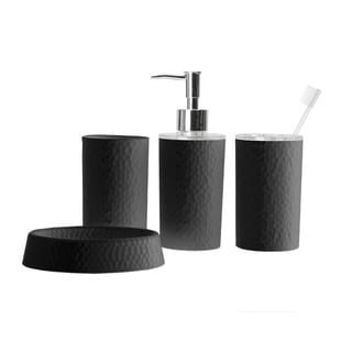 Bath Bliss Hammered Texure 4 Piece Bathroom Accessory Set