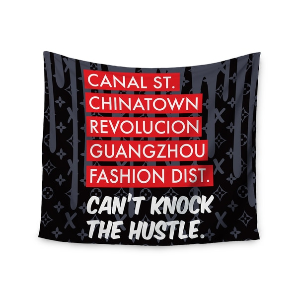 Kess InHouse Just L 'Cant'Knock The Hustle Blk' 51x60-inch Wall Tapestry
