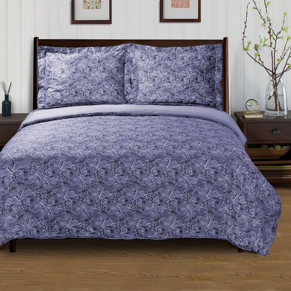 Superior 300 Thread Count Cotton Reversible Maywood Duvet Cover Set