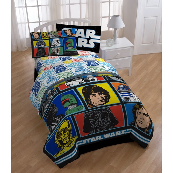 Star Wars Classic Grid 2 Twin 5-piece Bed in a Bag with Sheet Set 19411311