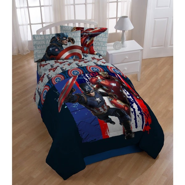 Marvel Captain America Civil War Lightning Twin 5-piece Bed in a Bag with Sheet Set 19411333