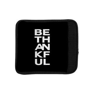 KESS InHouse Geordanna Cordero-Fields 'Be Thankful' White Black Luggage Handle Wrap
