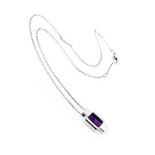 Gucci 18K White Gold Amethyst Crucifix Pendant Necklace