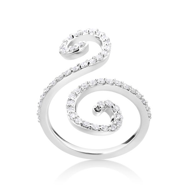 Summer Rose 14k White Gold 5/8ct TDW Diamond Fancy Swirl Ring