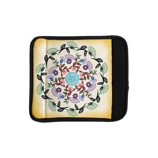KESS InHouse Famenxt 'Nature Mandala' Yellow Multicolor Luggage Handle Wrap