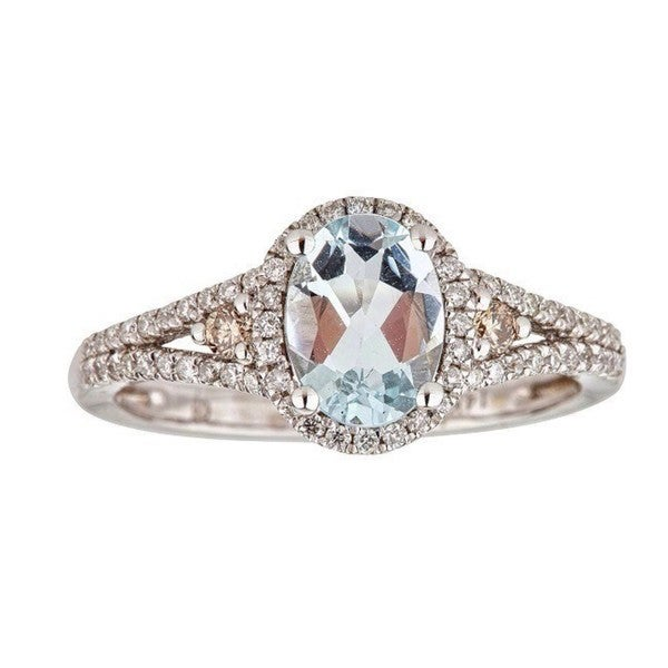Anika and August 14K White Gold Oval-cut Brazilian Aquamarine and Brown Diamond Ring