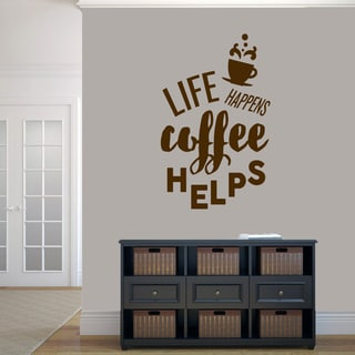 Sweetums 'Life Happens Coffee Helps' 30-inch x 48-inch Wall Decal