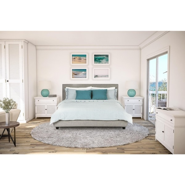 Avenue Greene Mileto Grey Linen Modern Upholstered Queen Bed