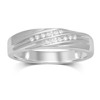 Unending Love 10k White Gold .06ct TDW 2 Row Slant Diamond Wedding Ring (IJ I2-I3)