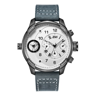 JBW Men's Gunmetal Grey Leather Multifuctional DIamond Watch