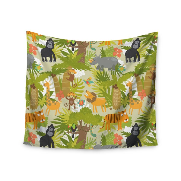 KESS InHouse Petit Griffin 'Roar Of The Jungle' Green Animals 51x60-inch Tapestry