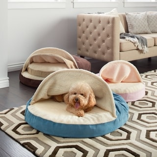 Furhaven Multicolor Polyester Faux Sheepskin Snuggery Burrow Orthopedic Dog Bed