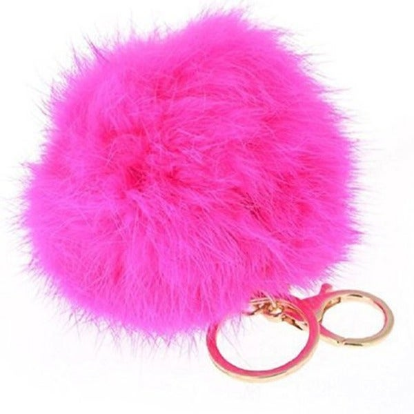 Rabbit Faux Fur Gold Plated Key Ring Key Chain Pom Pom