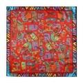 Modern Art 24-inch Crazy Cat Square Silk Scarf