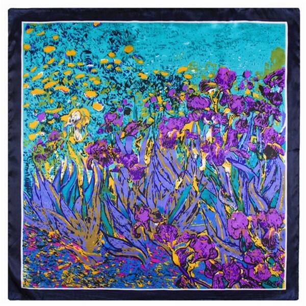 Modern Art Purple Floral Iris Garden 24-inch Square Silk Touch Scarf