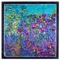 Modern Art 24-inch Purple Floral Iris Garden Square Silk Scarf