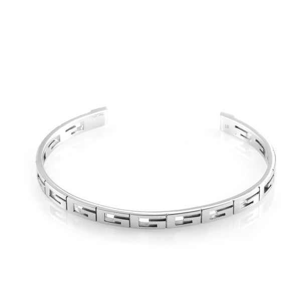 "Gucci 18K White Gold ""G"" Open Bangle Bracelet"