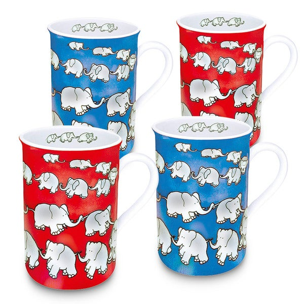 Konitz Blue, Red, White Porcelain Waechtersbach Chain of Elephants Mug (Set of 4)