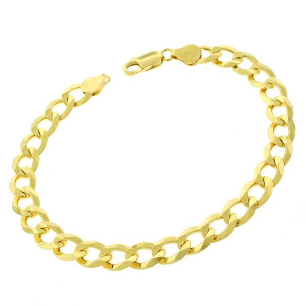 0.925 Sterling Silver 9-millimeter Solid Cuban Curb Link Gold Plated ITProLux 9-inch Bracelet
