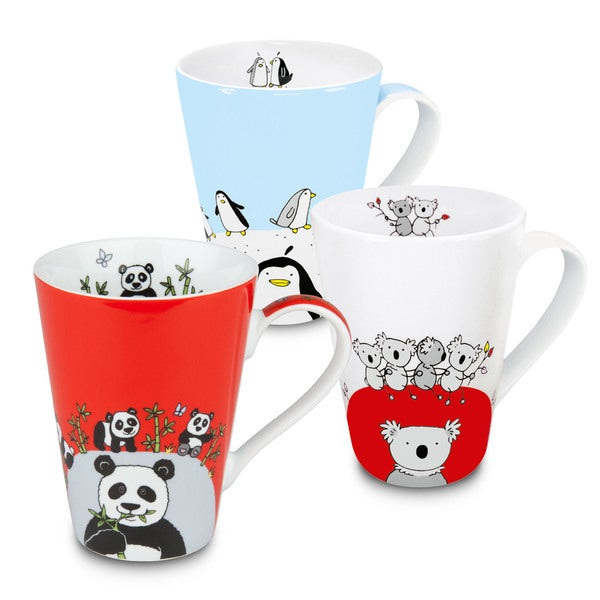 Konitz Waechtersbach Globetrotter White/Blue/Red Porcelain Panda/Koala/Penguin Mugs (Pack of 3)