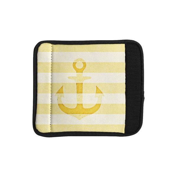 KESS InHouse Monika Strigel 'Stone Vintage Anchor Yellow' Mustard White Luggage Handle Wrap